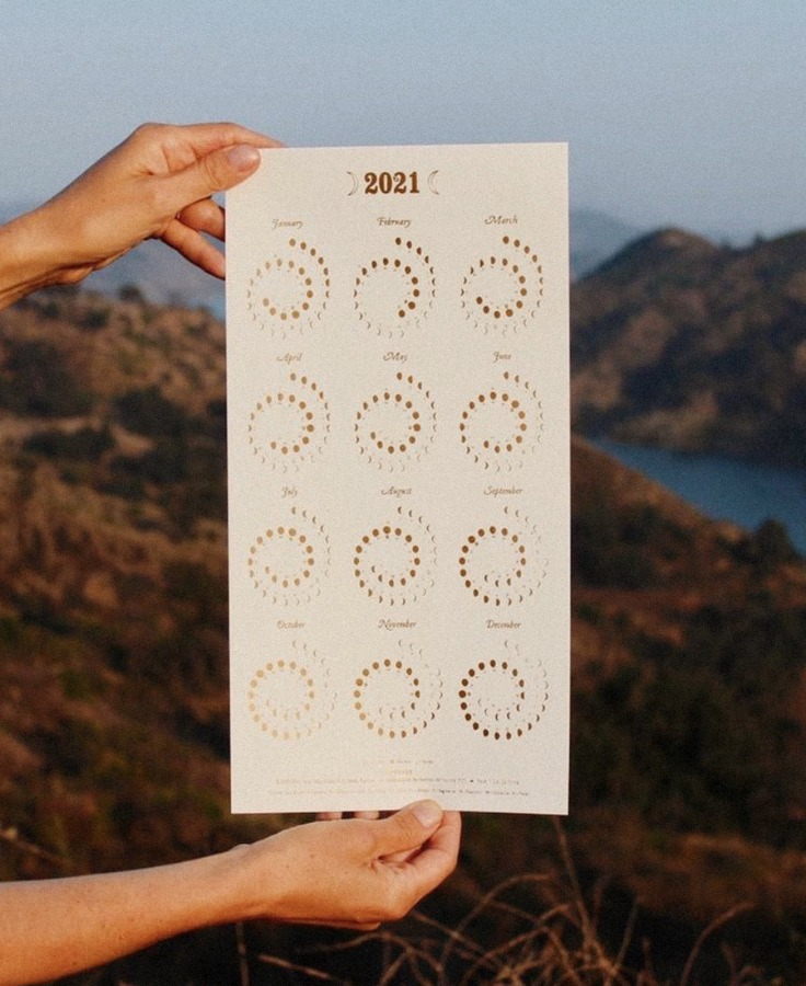 2021 Moons Calendar - Pearl white recycled paper